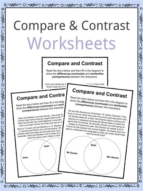 biography compare and contrast worksheet download compare and contrast worksheets lesson plan pdf s