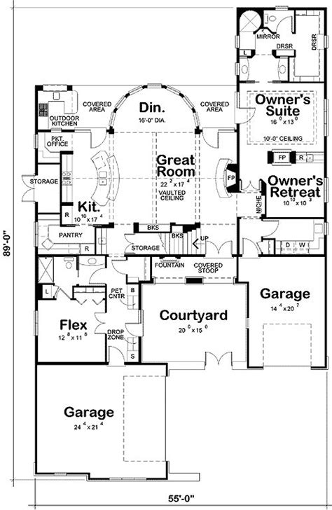 house plans with front courtyards courtyard house plan architecture floor plans pinterest