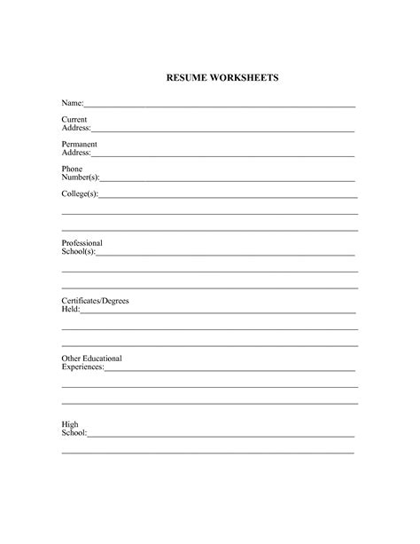 resume worksheet template 11 best images of search worksheet search