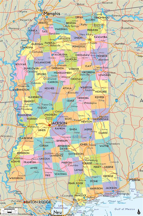 map of cities and towns detailed political map of mississippi ezilon maps