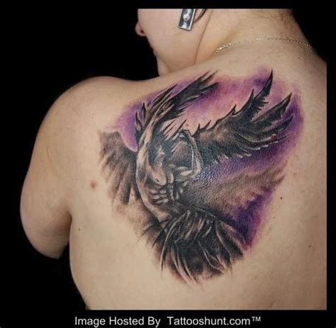 3d angel tattoo 3d winged angel tattoo on back shoulder tattooshunt com