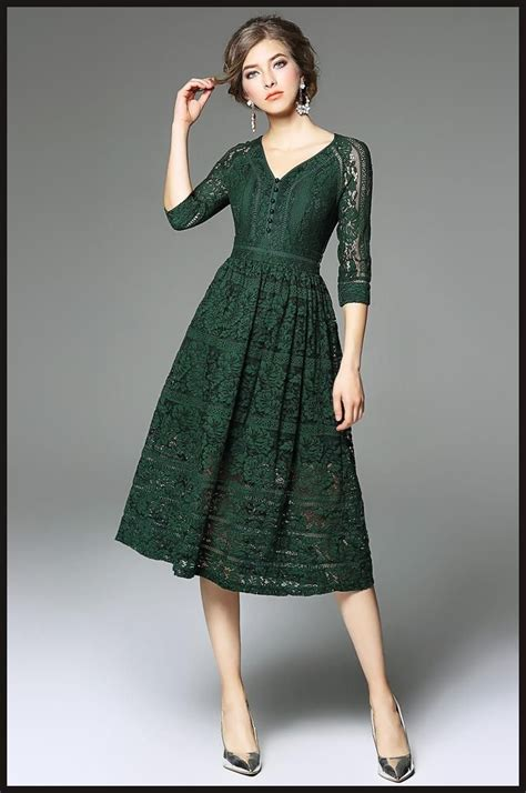 Sleeve V Neck Dress green lace dress 3 4 sleeves v neck a line 2017
