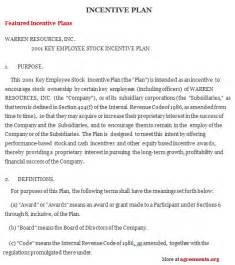incentive template incentive plan agreement sle incentive plan agreement