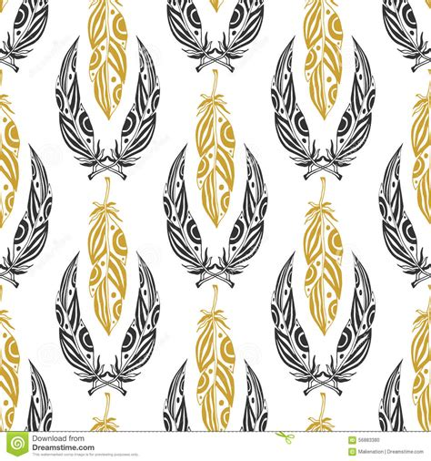 tribal pattern black and gold ethnic seamless pattern with beauty feathers vintage