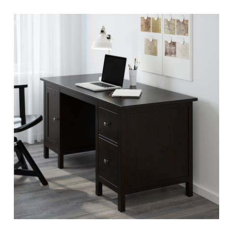 hemnes desk black brown 155x65 cm ikea