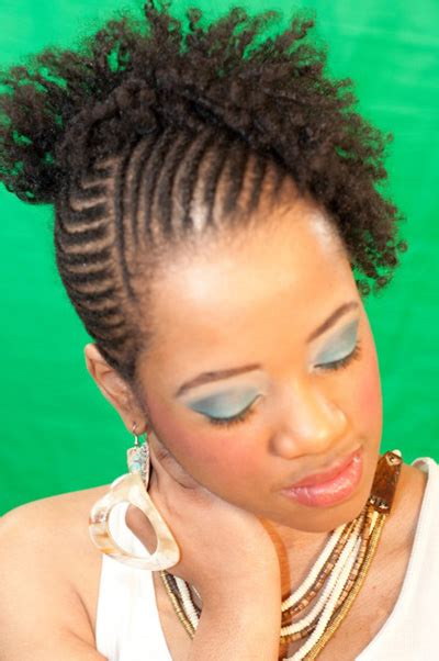 nautral hair om flex rods with braid cornrow and flexi rod set on natural hair natural