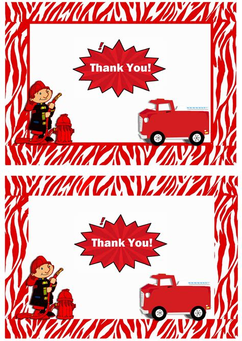 printable thank you cards for firefighters firefighters thank you cards birthday printable