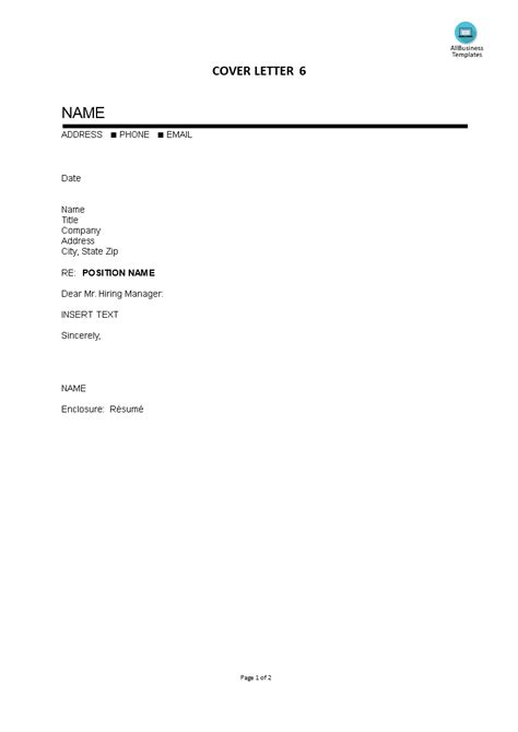 cover letter blank template templates