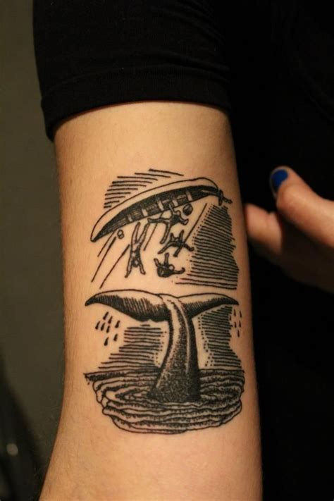 tattoo shading styles whale and capsized boat woodcut illustration style