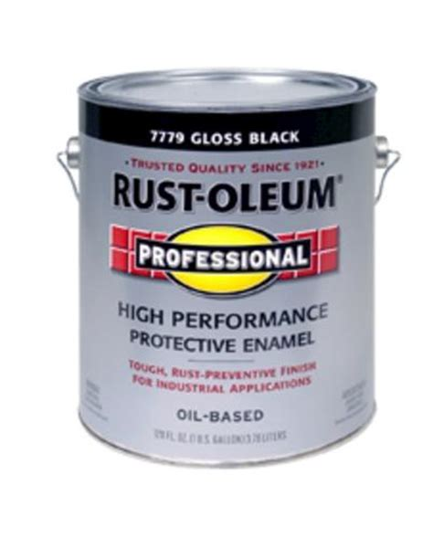 rust oleum 174 pro gloss black low voc high performance enamel 1 gal at menards 174