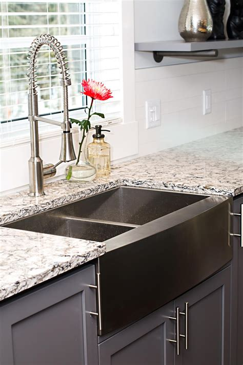 black faucet with stainless steel sink black stainless steel sink photos hgtv my
