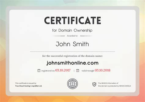 domain ownership certificates   circulation