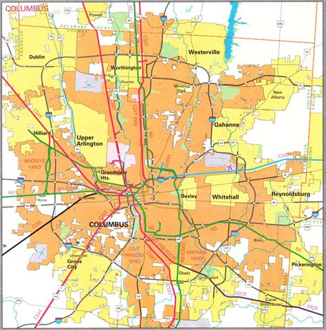 columbus map cities in franklin county ohio