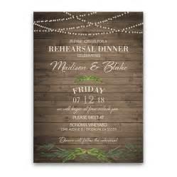 rustic greenery wedding rehearsal dinner invitation