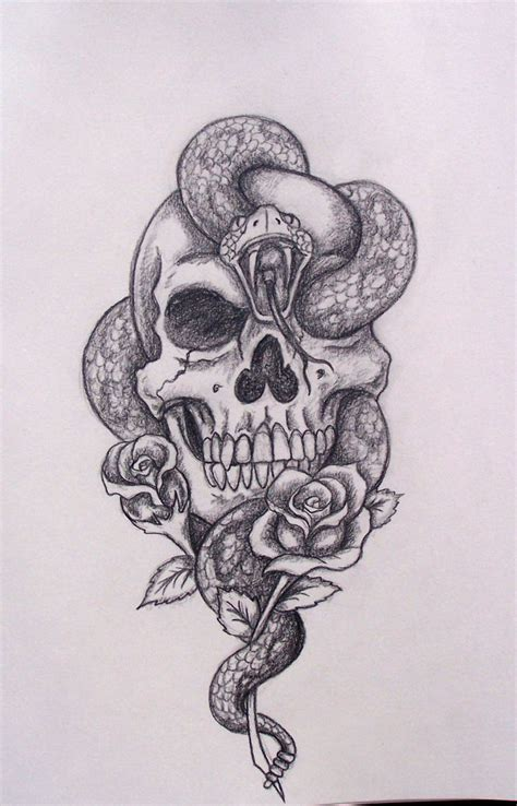 skull tattoo drawings snake skull drawing cool idea skips a beat
