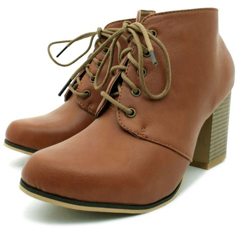 womens leather style lace up block heel ankle boots