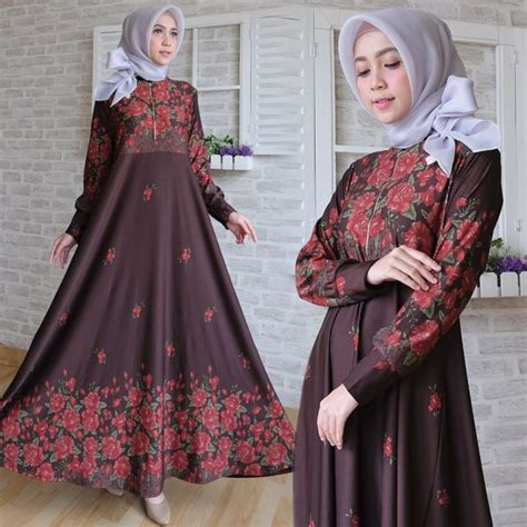 Gamis Triasa Maxi maxi calvin motif bunga baju gamis cantik terbaru