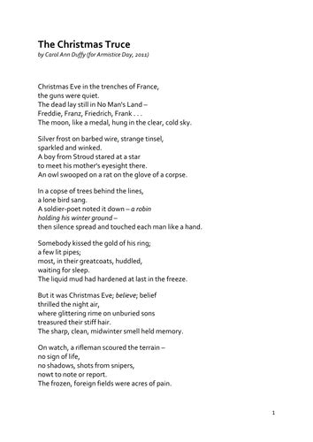 the christmas truceeducation resources the christmas truce by carol ann duffy by suepinnick teaching resources tes