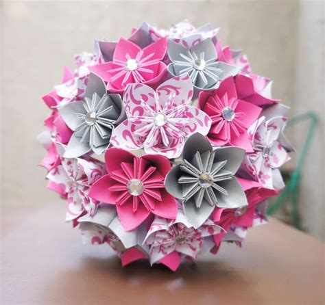 Origami Flower Bouquet - custom wedding kusudama origami paper flower package