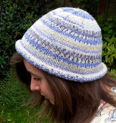 free hat knitting patterns needles knitted rolled brim beanie hat free beginners pattern