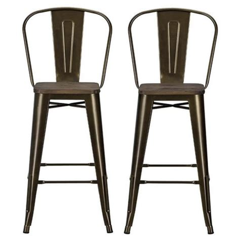 Dhp Luxor Metal Bar Stool by Luxor 30 Quot Metal Bar Stool With Wood Seat 2pc Bronze