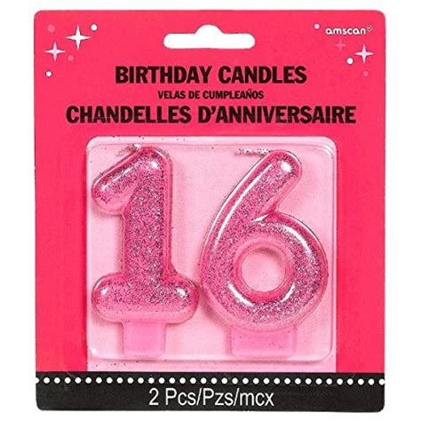 chic sweet sixteen celebration molded glitter number 16 birthday candle supply magenta 3