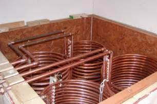 The solar storage tank with the copper coil heat exchangers.