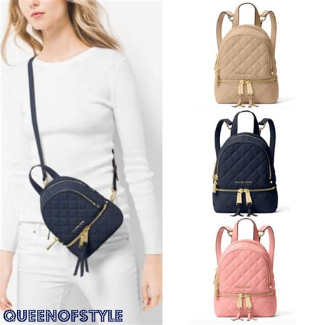 Tas Ransel Michael Kors Mk Rhea Mini Backpack Original mk michael kors rhea small quilted leather backpack buyma