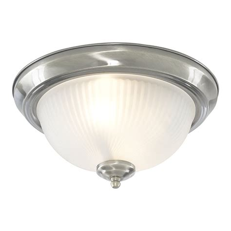Silver Ceiling Lights Searchlight 4042 Flush 2 Light Satin Silver Flush Ceiling Light
