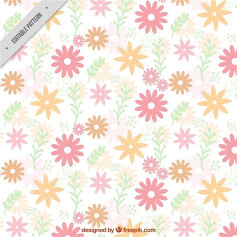 vector pattern pastel free flat pattern of cute flowers in pastel colors vector