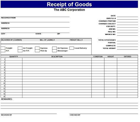 goods receipt template receipt of goods template sle