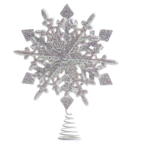 white iridescent sparkling snowflake tree topper trees