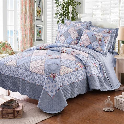 Patchwork Bed Cover - korean style quilt set floral cotton quilts patchwork