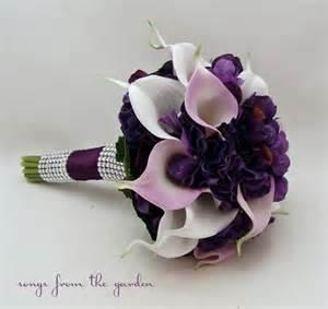 calla lily hydrangea bridesmaid bouquet lavender white purple real touch calla lily hydrangea