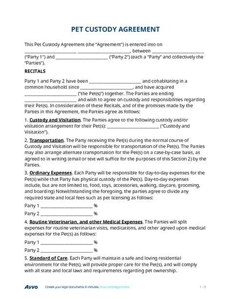 Pet Custody Agreement Custody Arrangement Template