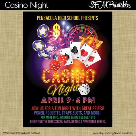 Casino Night Poker Slots Roullette Craps Invitation Poster Template Church School Community Casino Fundraiser Flyer Template
