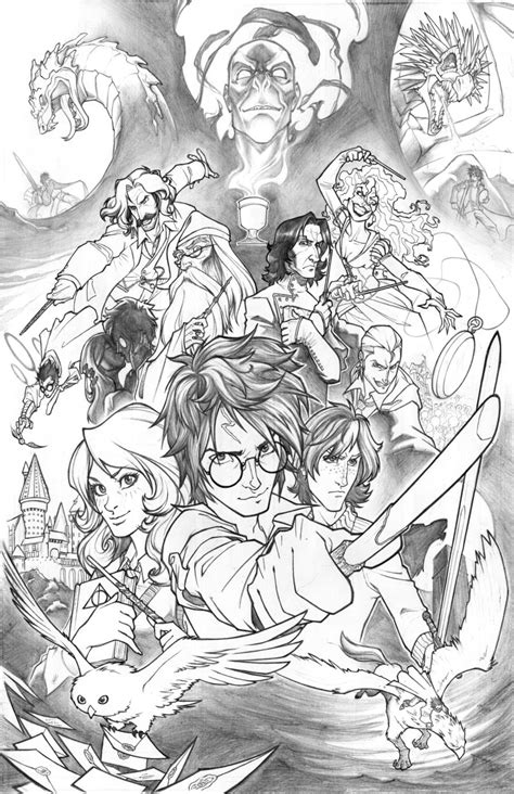 harry potter coloring book chapters harry potter grandpre chapter illustrations brown hairs