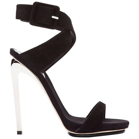 Giuseppe Zanotti Pink And Black Sandals by Giuseppe Zanotti Black Suede And Silver 115 Heels