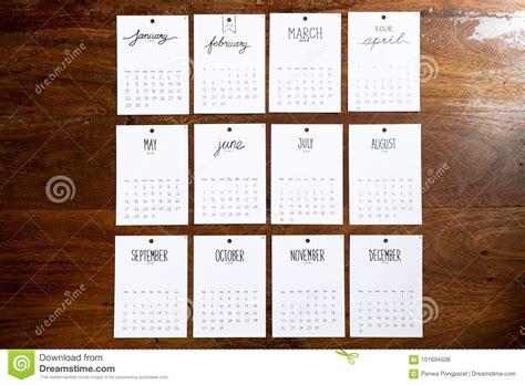 Calendar Handmade - vintage calendar 2018 handmade on wooden wall stock photo