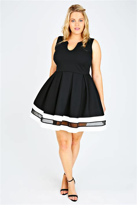 Dress Best Stripe black white mesh block stripe skater dress