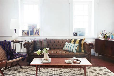 brown chesterfield sofa in living room bohemian living room photos 35 of 144 lonny
