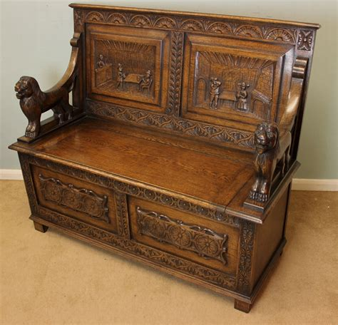 antique settle bench antique antique oak box settle monks bench antiques co uk