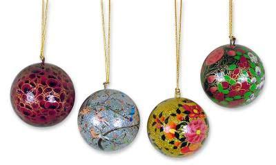 collectible christmas papier mache bird ornaments set of