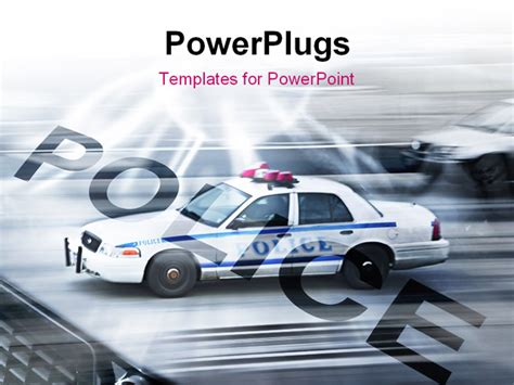 powerpoint themes police police car in motion blur on the street of new york