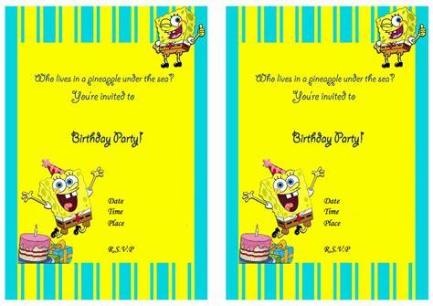 Spongebob Birthday Card Template by Spongebob Birthday Invitation Best Ideas