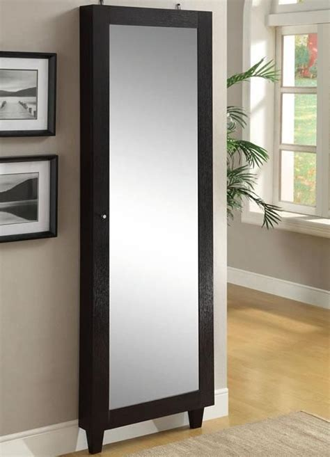full length mirror and jewelry armoire furniture floor mirror withrstoragerclosed coaster