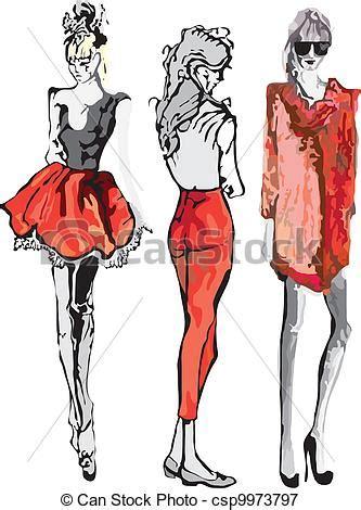 drawing model fashion model vector illustration vectors