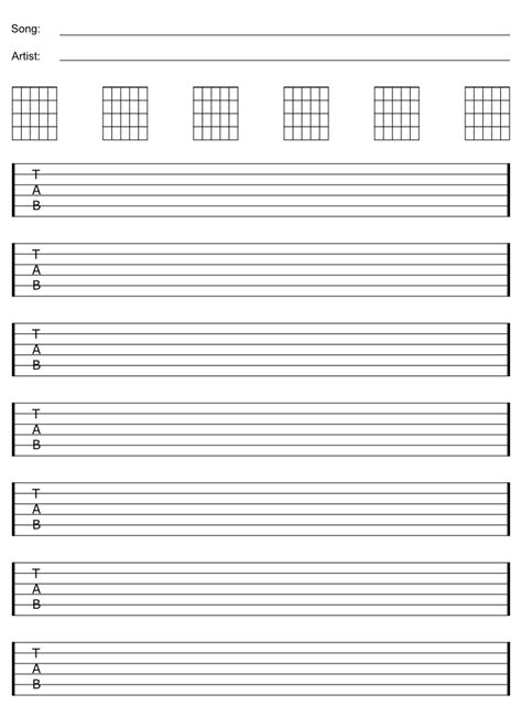 printable staff paper for guitar free blank guitar sheet staff tab paper guitar