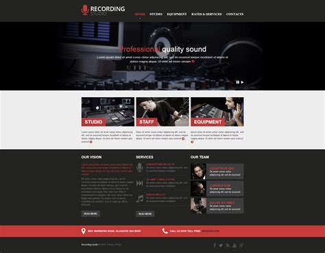 recording studio responsive website template 46915