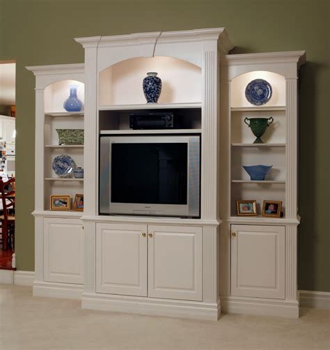 entertainment center with decorative shelving